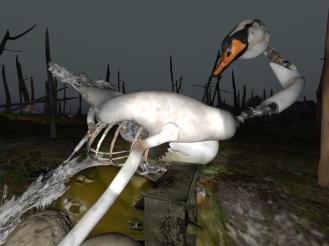 A rusting swan full of gears.